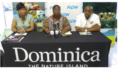 (L-R) Mrs. Kathleen Cuffy Jno.Jules, Product Promotions Manager at DDA; Mrs. Charlene White-Christian, Vice Chairperson of the Carnival Road Parade Committee; Mr. Valantine Cuffy, Carnival 2016 Promoter